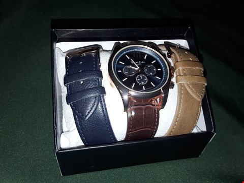 Lot 4030 TOMAS CALVI ROSE GOLD WATCH WITH BROWN, BLUE AND, TAN LEATHER STRAPS