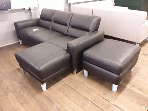 Lot 164 BRAND NEW QUALITY DESIGNER ITALIAN BLACK LEATHER THREE-SEATER CHAISE SOFA AND STORAGE FOOTSTOOL