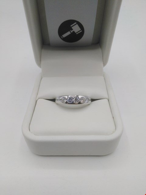 Lot 24 18CT WHITE GOLD FIVE STONE HALF ETERNITY RING RUBOVER SET WITH DIAMONDS WEIGHING 0.51CT RRP £1900.00