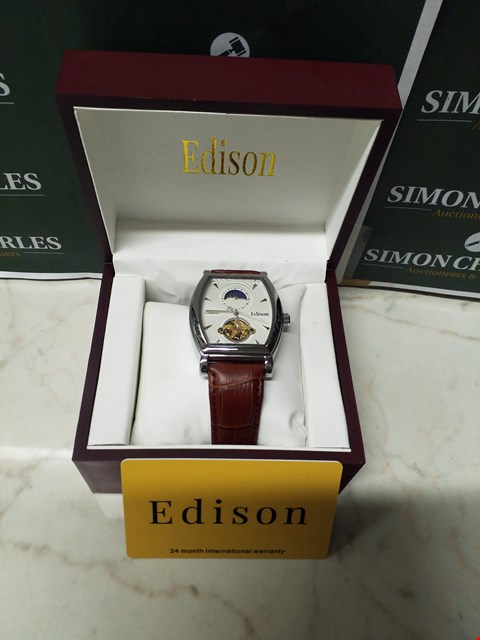 Lot 4556 EDISON SILVER EFFECT CASING & GENUINE LEATHER STRAP MEN'S AUTOMATIC WATCH RRP £599.00