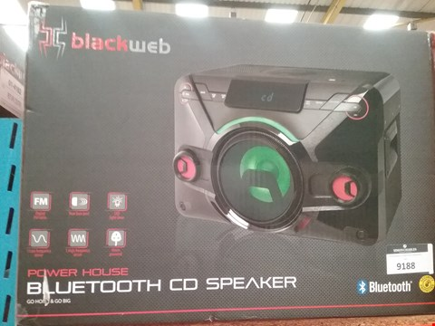 Lot 9188 BOXED BLACK WEB POWER HOUSE BLUETOOTH CD SPEAKER