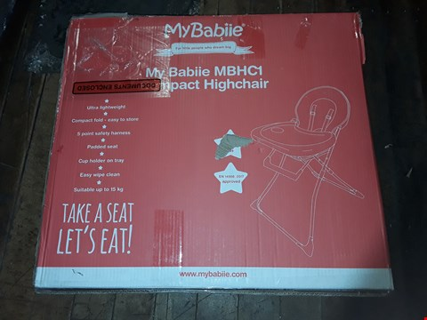 Lot 4845 BOXED GRADE 1 MY BABIIE MBHC1 COMPACT HIGHCHAIR  RRP £44.99