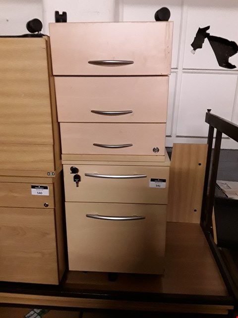 Lot 294 LOT OF 2 ASSORTED WOODEN 3 AND 3 DRAWER FILLING CABINETS