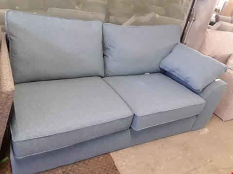 Lot 79 QUALITY DESIGNER BRITISH MADE STAMFORD DARK TEAL FABRIC THREE SEATER SECTION WITH BOLSTER CUSHION