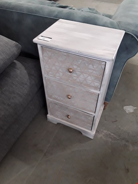 Lot 10 DESIGNER GREY WASH EFFECT 3 DRAWER BEDSIDE CABINET