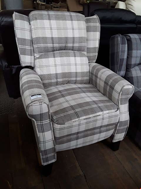 Lot 73 DESIGNER EATON BEIGE CHECKED FABRIC PUSH BACK RECLINING EASY CHAIR RRP £380