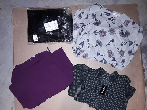 Lot 9390 LOT OF 4 BOXES OF APPROXIMATELY 91 CLOTHING ITEMS TO INCLUDE LUCY SKINNY JEANS BLACK VARIOUS SIZES, FRILL DETAILED DRESS GREY FLORAL, ECT