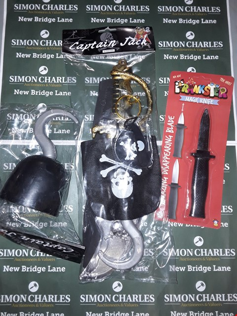 Lot 773 BOX OF ASSORTED FANCY DRESS ITEMS TO INCLUDE A PIRATE STARTER KIT, A PIRATE HOOK, A DISAPPEARING KNIFE ETC
