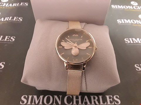 Lot 1299 OLIVIA BURTON LUCKY BEE GREY DIAL AND ROSE GOLD MESH WATCH RRP £155.00