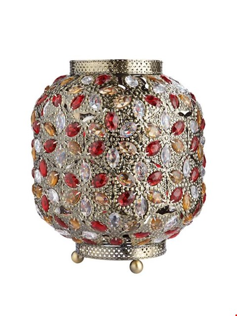Lot 210 BRAND NEW BOXED YASMIN TABLE LAMP RED/MULTI (1 BOX)  RRP £39.99