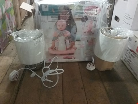 Lot 2261 LOT OF 2 ITEMS TO INCLUDE BABY ANNABELL BABY WALKER AND SET OF 2 TOUCH TABLE LAMPS  RRP £78