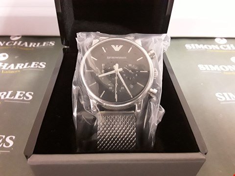 Lot 1273 EMPORIO ARMANI STAINLESS STEEL MESH BRACELET GENTS WATCH RRP £389.00