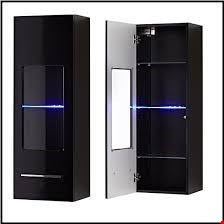Lot 610 BRAND NEW BOXED BLACK CONTEMPORARY DISPLAY CABINET WITH GLASS PANEL AND LED LIGHTS (1 BOX) RRP £139.95
