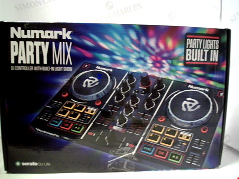 Lot 15832 NUMARK PARTY MIX - COMPLETE DJ CONTROLLER SET FOR SERATO DJ WITH 2 DECKS, PARTY LIGHTS, HEADPHONE OUTPUT, PERFORMANCE PADS AND CROSSFADER / MIXER