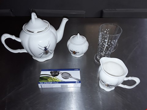 Lot 8059 BOX OF APPROXIMATELY 18 ASSORTED ITEMS TO INCLUDE TEA POTS, MILK JUGS, TEA STRAINER AND DESSERT GLASSES