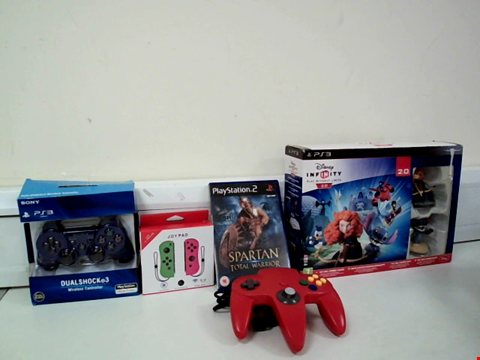 Lot 8108 LOT OF 5 VIDEO GAME ITEMS TO INCLUDE RED NINTENDO 64 CONTROLLER, DISNEY INFINITY 2.0 TOY BOX COMBO SET FOR PS3 AND SPARTAN TOTAL WARRIOR PLAYSTATION 2 GAME