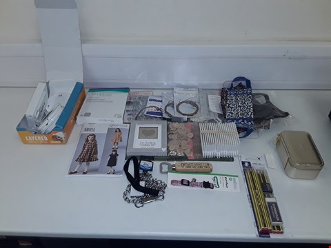 Lot 8072 LOT OF ASSORTED HOUSEHOLD ITEMS TO INCLUDE FACE MASKS, ASSORTED CRAFT ITEMS, DOG CHAIN AND CAT COLLAR