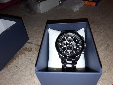 Lot 9228 CASIO EDIFICE STAINLESS STEEL BLACK FACE CHRONOGRAPH WATCH RRP £210.00