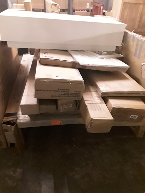 Lot 17278 PALLET OF ASSORTED FLAT PACK FURNITURE PARTS TO INCLUDE BED PARTS ETC