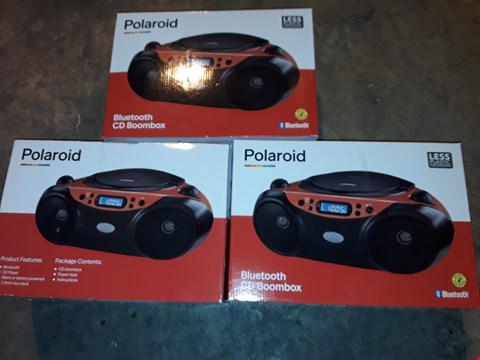 Lot 4650 LOT OF 3 POLAROID BLUETOOTH CD BOOMBOXES
