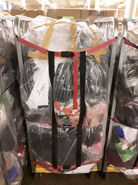 Lot 240 CAGE OF UNPROCESSED ADULT DESIGNER CLOTHING (CAGE NOT INCLUDED)