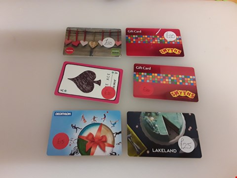 Lot 54 6 ASSORTED GIFT CARDS TO INCLUDE TK MAXX, SMYTHS, WHITE STUFF, DECATHLON AND LAKELAND TOTAL VALUE £130