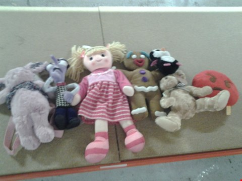 Lot 393 APPROXIMATELY 25 ASSORTED SOFT TOYS TO INCLUDE; SHREK GINGI, UDDLE CORNER, BEANIE BABIES AND EMOJI