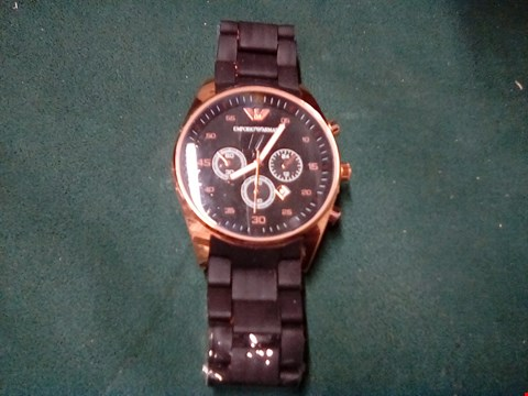 Lot 1013 WATCH IN THE STYLE OF EMPORIO ARMANI BLACK AND ROSE GOLD