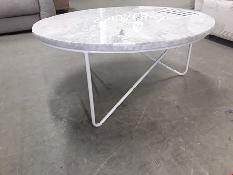 Lot 2018 DESIGNER OSKAR MARBLE EFFECT CIRCULAR COFFEE TABLE SIZE L800 X W800 X H355 RRP £440