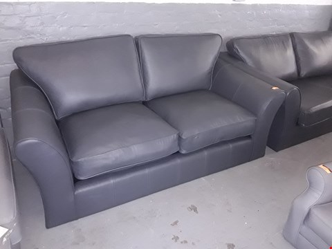Lot 143 QUALITY BRITISH DESIGNER CHARCOAL LEATHER THREE & TWO SEATER SOFAS