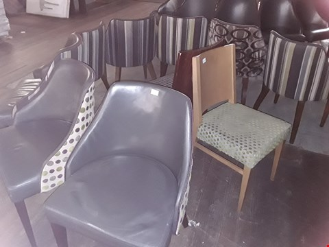 Lot 85 APPROXIMATELY 10 ASSORTED CHAIRS INCLUDING PATTERNED FABRIC WOODEN CHAIRS AND GREY LEATHER CHAIR WITH STRIPED BACK
