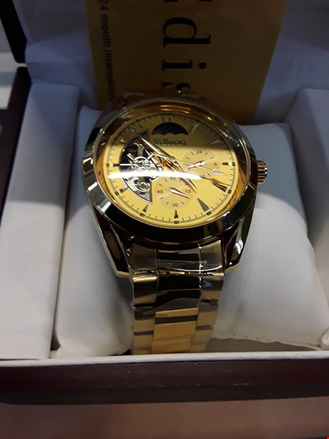 Lot 18 BRAND NEW DESIGNER EDISON YELLOW GOLD COLOURED STAINLESS STEEL STRAP MOONPHASE WRISTWATCH  RRP £600.00