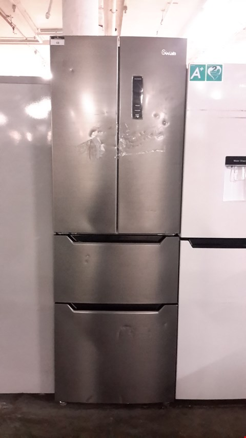 Lot 58 SWAN SR8170SS FRENCH STYLE TWO DOOR TWO DRAWER FRIDGE FREEZER  RRP £499.99