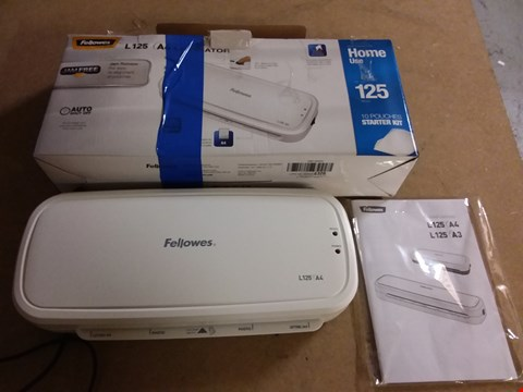 Lot 948 FELLOWES L125 A4 LAMINATOR