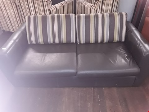 Lot 67 PAIR OF 2 SEATER GREY LEATHER SOFAS WITH STRIPED BACK CUSHIONS