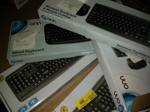 Lot 1629 LOT OF 5 ONN WIRELESS KEYBOARD & MOUSE COMBOS PACKS (condition of boxes may vary from pictured)