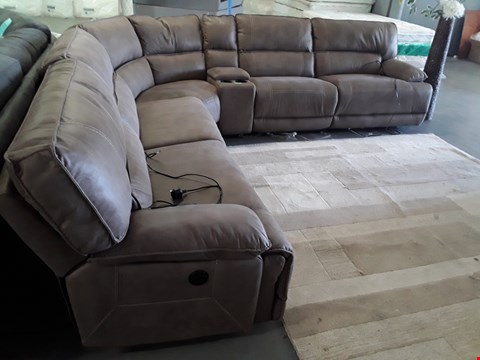 Lot 125 DESIGNER CYRUS PECAN FAUX SUEDE POWER RECLINING CORNER SOFA WITH HC SECTION RRP £1699