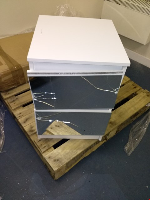 Lot 13854 CRYSTAL MIRRORED 2 DRAWER BEDSIDE CHEST WITH CRYSTAL STRIP DETAIL