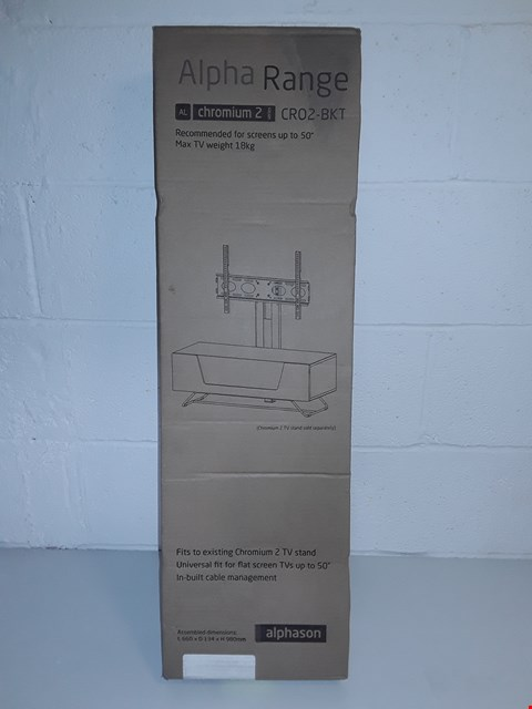 Lot 49 BOXED ALPHA RANGE CRO2-BKT TV MOUNT FOR UP TO 50""