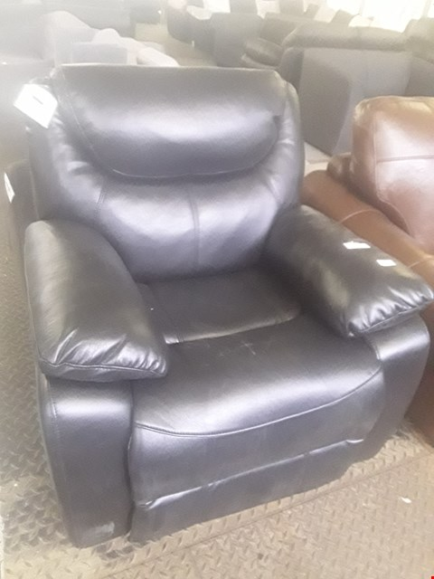Lot 32 DESIGNER BLACK FAUX LEATHER MANUALLY RECLINING ARMCHAIR