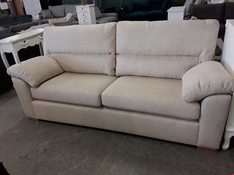 Lot 40 QUALITY BRITISH DESIGNER BEIGE FABRIC 3 SEATER SOFA