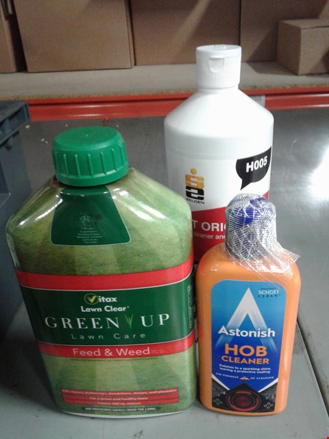 Lot 8087 BOX OF ASSORTED CLEANING PRODUCTS - TO INCLUDE ACT ORIGINAL TOILET CLEANER - GREEN UP LAWN CARE - ASTONISH HOB CLEANER