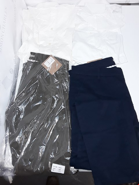 Lot 5363 LOT OF APPROXIMATELY 10 ASSORTED ITEMS OF DESIGNER SIMON + SIMON CLOTHING TO INCLUDE BLUE CARGO PANTS, WHITE LONG SLEVE SHIRT, GREEN CARGO PANTS