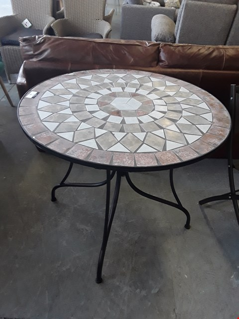 Lot 62 DESIGNER CAST IRON STYLE TILE TOPPED CIRCULAR GARDEN TABLE