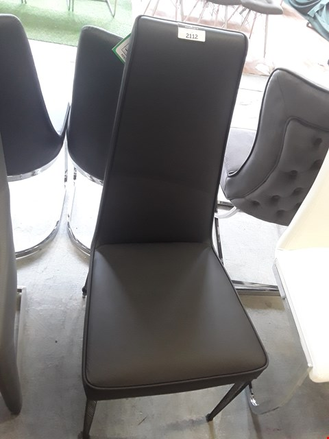 Lot 3 DESIGNER BLACK LEATHER DINING CHAIR