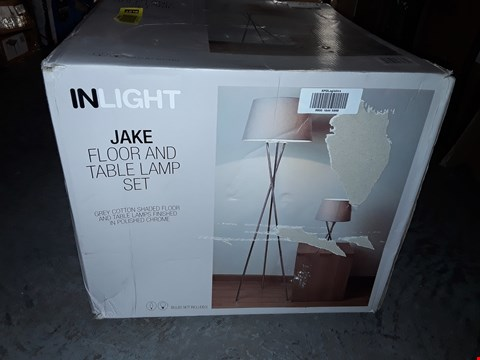 Lot 369 INLIGHT JAKE FLOOR AND TABLE LAMP SET - GREY/CHROME RRP £47