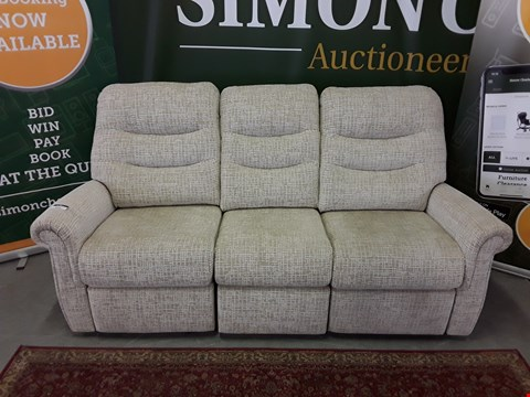 Lot 8002 QUALITY DESIGNER BRITISH MADE WOODEN FRAME BEIGE FABRIC ELECTRIC RECLINING 3 SEATER SOFA