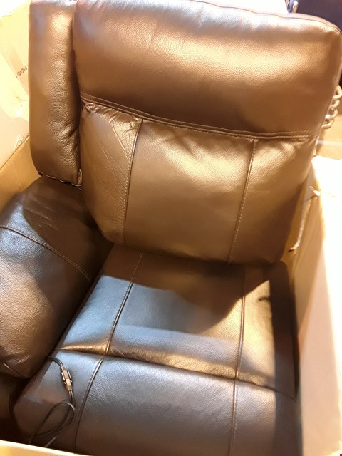 Lot 489 BOXED DESIGNER PALMERMO DARK BROWN LHF POWER RECLINING SECTION