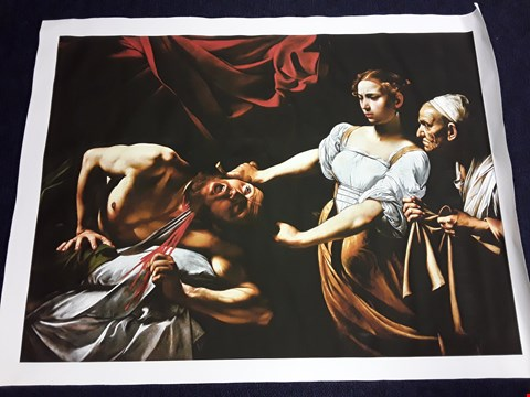"Lot 18 LARGE CANVAS ""JUDITH BEHEADING HOLOFERNES"" CARAVAGGIO PRINT"