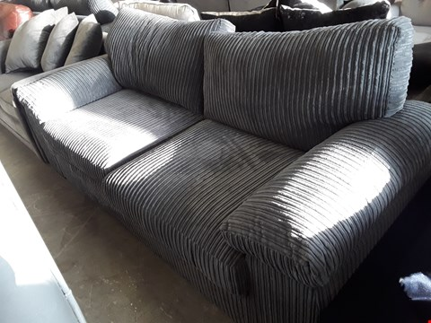 Lot 63 DESIGNER GREY JUMBO CHORD THREE SEATER SOFA